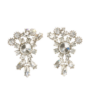 Earrings With Sparkly Stones - occasions: evening, occasion; style: drop; length: mid; size: large/oversized; material: chain/metal; fastening: pierced; finish: metallic; embellishment: crystals/glass; predominant colour: clear; trends: summer sparkle; season: s/s 2014