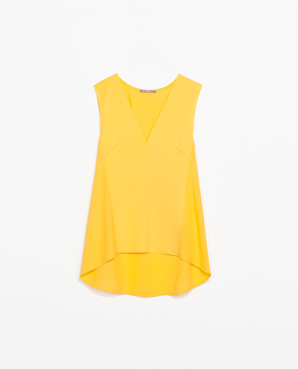V Neck Top - neckline: low v-neck; pattern: plain; sleeve style: sleeveless; style: vest top; predominant colour: yellow; occasions: casual, creative work; length: standard; fibres: viscose/rayon - 100%; fit: loose; back detail: longer hem at back than at front; sleeve length: sleeveless; texture group: crepes; pattern type: fabric; trends: hot brights; season: s/s 2014