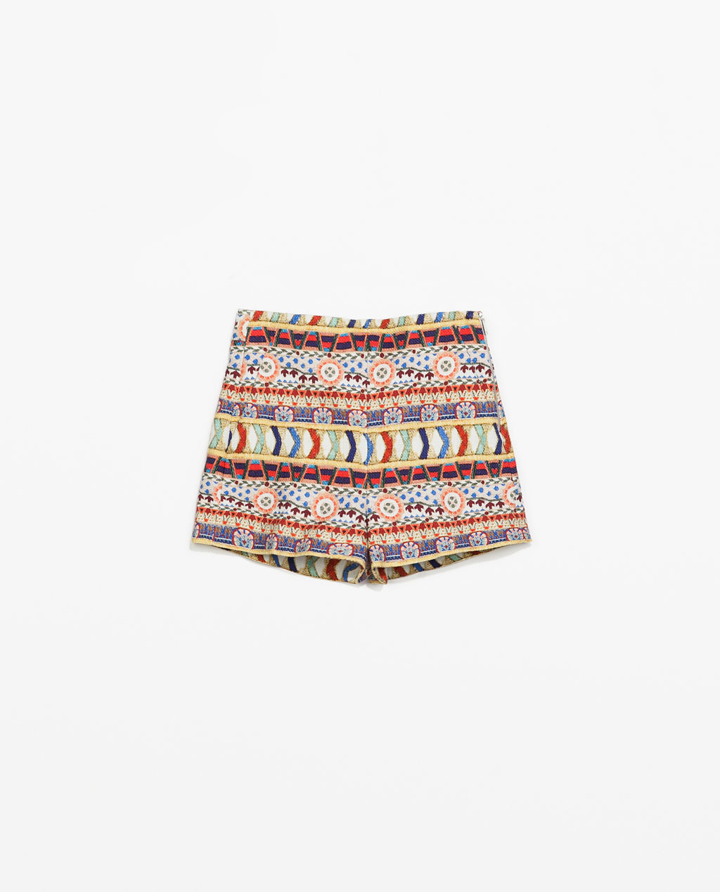 Printed Shorts - pocket detail: pockets at the sides; waist: mid/regular rise; occasions: casual, holiday; fibres: cotton - 100%; predominant colour: multicoloured; pattern type: knitted - fine stitch; pattern: patterned/print; texture group: other - light to midweight; season: s/s 2014; pattern size: big & busy (bottom); multicoloured: multicoloured; style: shorts; length: short shorts; fit: slim leg