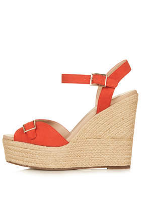 Wish Buckle Espadrilles - predominant colour: true red; secondary colour: stone; occasions: casual, holiday, creative work; material: fabric; ankle detail: ankle strap; heel: wedge; toe: open toe/peeptoe; finish: plain; pattern: plain; heel height: very high; shoe detail: platform; style: espadrilles; season: s/s 2014