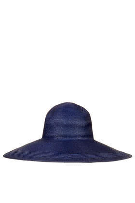 Straw Edge Detail Floppy Hat - predominant colour: navy; type of pattern: standard; style: wide brimmed; size: large; material: macrame/raffia/straw; pattern: plain; occasions: holiday; trends: hot brights; season: s/s 2014