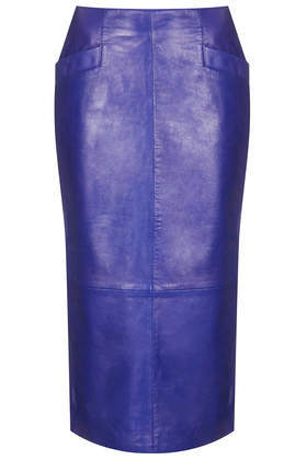 Cobalt Leather Calf Pencil Skirt - length: calf length; pattern: plain; style: pencil; fit: tailored/fitted; hip detail: front pockets at hip; waist: high rise; predominant colour: royal blue; occasions: casual, evening; fibres: leather - 100%; texture group: leather; pattern type: fabric; trends: hot brights; season: s/s 2014