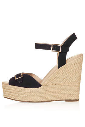 Wish Buckle Espadrilles - secondary colour: stone; predominant colour: black; occasions: casual, holiday, creative work; material: fabric; embellishment: buckles; ankle detail: ankle strap; heel: wedge; toe: open toe/peeptoe; finish: plain; pattern: plain; heel height: very high; shoe detail: platform; style: espadrilles; season: s/s 2014