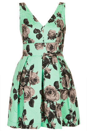 Stand Out Flower Prom Dress - length: mini; neckline: low v-neck; sleeve style: sleeveless; style: prom dress; back detail: low cut/open back; predominant colour: pistachio; secondary colour: mid grey; occasions: evening, occasion; fit: fitted at waist & bust; fibres: cotton - mix; hip detail: structured pleats at hip; sleeve length: sleeveless; pattern type: fabric; pattern size: standard; pattern: florals; texture group: brocade/jacquard; trends: sorbet shades, furious florals; season: s/s 2014