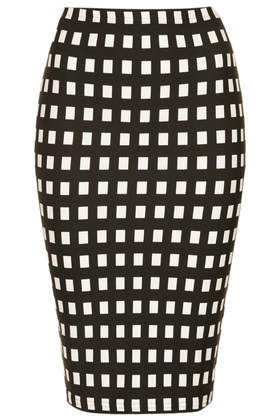 Petite Monochrome Gingham Tube Skirt - pattern: checked/gingham; fit: tight; waist: high rise; hip detail: draws attention to hips; secondary colour: white; predominant colour: black; occasions: casual, evening, creative work; length: just above the knee; fibres: cotton - stretch; style: tube; pattern type: fabric; texture group: jersey - stretchy/drapey; season: s/s 2014; trends: monochrome; pattern size: standard (bottom)