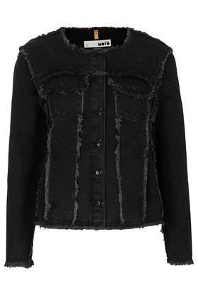 Moto Frayed Collarless Jacket - pattern: plain; collar: round collar/collarless; style: denim; predominant colour: black; occasions: casual, creative work; length: standard; fit: straight cut (boxy); fibres: cotton - 100%; sleeve length: long sleeve; sleeve style: standard; texture group: denim; collar break: high; pattern type: fabric; season: s/s 2014