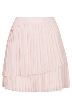 Hiych Pleat Skirt - length: mid thigh; pattern: plain; fit: loose/voluminous; style: tiered; waist: high rise; predominant colour: blush; occasions: evening, occasion; fibres: polyester/polyamide - 100%; texture group: sheer fabrics/chiffon/organza etc.; hip detail: ruffles/tiers/tie detail at hip; pattern type: fabric; trends: sorbet shades, powerful pleats; season: s/s 2014