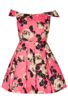Bardot Floral Prom Dress - length: mid thigh; neckline: off the shoulder; style: prom dress; back detail: back revealing; predominant colour: pink; secondary colour: black; occasions: evening, occasion; fit: fitted at waist & bust; fibres: cotton - mix; hip detail: adds bulk at the hips; sleeve length: short sleeve; sleeve style: standard; pattern type: fabric; pattern size: standard; pattern: florals; texture group: brocade/jacquard; trends: furious florals, powerful pleats, show-off shoulders; season: s/s 2014