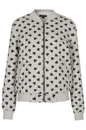 Heart Print Jersey Bomber Jacket - collar: round collar/collarless; style: bomber; secondary colour: charcoal; predominant colour: light grey; occasions: casual, creative work; length: standard; fit: straight cut (boxy); fibres: cotton - mix; sleeve length: long sleeve; sleeve style: standard; collar break: high; pattern type: fabric; pattern: patterned/print; texture group: jersey - stretchy/drapey; season: s/s 2014; pattern size: big & busy (top)