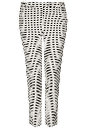 Gingham Cigarette Trousers - pattern: checked/gingham; waist: mid/regular rise; secondary colour: white; predominant colour: black; occasions: casual, evening, creative work; length: ankle length; fibres: cotton - stretch; texture group: cotton feel fabrics; fit: slim leg; pattern type: fabric; style: standard; season: s/s 2014; trends: monochrome; pattern size: light/subtle (bottom)