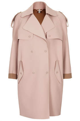 Bonded Trench Coat - pattern: plain; style: trench coat; collar: standard lapel/rever collar; length: mid thigh; predominant colour: stone; occasions: casual, work, creative work; fit: straight cut (boxy); fibres: polyester/polyamide - stretch; shoulder detail: discreet epaulette; sleeve length: long sleeve; sleeve style: standard; collar break: medium; pattern type: fabric; texture group: other - bulky/heavy; trends: sorbet shades; season: s/s 2014