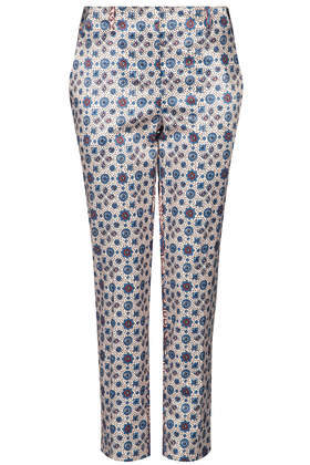 Tile Cigarette Trousers - waist: mid/regular rise; secondary colour: navy; predominant colour: light grey; occasions: casual, evening, creative work; length: ankle length; fit: slim leg; pattern type: fabric; pattern: patterned/print; texture group: woven light midweight; style: standard; fibres: viscose/rayon - mix; season: s/s 2014; pattern size: big & busy (bottom)