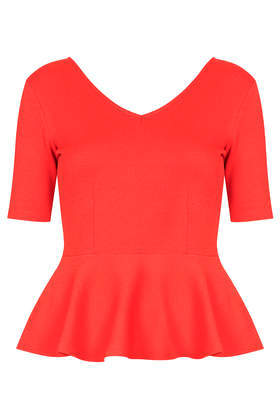 Crepe Peplum Top - neckline: low v-neck; pattern: plain; waist detail: peplum waist detail; predominant colour: true red; occasions: casual, evening; length: standard; style: top; fibres: cotton - 100%; fit: tailored/fitted; sleeve length: short sleeve; sleeve style: standard; texture group: crepes; pattern type: fabric; season: s/s 2014