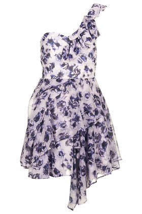 Floral One Shoulder Prom Dress - length: mini; sleeve style: asymmetric sleeve; neckline: asymmetric; predominant colour: lilac; secondary colour: light grey; occasions: evening, occasion; fit: fitted at waist & bust; style: fit & flare; fibres: polyester/polyamide - 100%; sleeve length: short sleeve; texture group: sheer fabrics/chiffon/organza etc.; pattern type: fabric; pattern size: standard; pattern: florals; trends: furious florals; season: s/s 2014