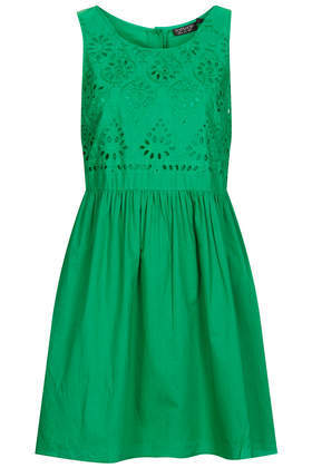 Broidery Chuck On Dress - length: mid thigh; neckline: round neck; pattern: plain; sleeve style: sleeveless; style: sundress; predominant colour: emerald green; occasions: casual, holiday, creative work; fit: fitted at waist & bust; fibres: cotton - 100%; hip detail: subtle/flattering hip detail; sleeve length: sleeveless; texture group: cotton feel fabrics; pattern type: fabric; embellishment: embroidered; season: s/s 2014; wardrobe: highlight; embellishment location: top