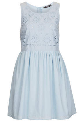 Broidery Chuck On Dress - length: mid thigh; neckline: round neck; fit: loose; pattern: plain; sleeve style: sleeveless; style: sundress; predominant colour: pale blue; occasions: casual, holiday; fibres: cotton - 100%; hip detail: subtle/flattering hip detail; sleeve length: sleeveless; texture group: cotton feel fabrics; pattern type: fabric; embellishment: embroidered; season: s/s 2014; wardrobe: highlight; embellishment location: top
