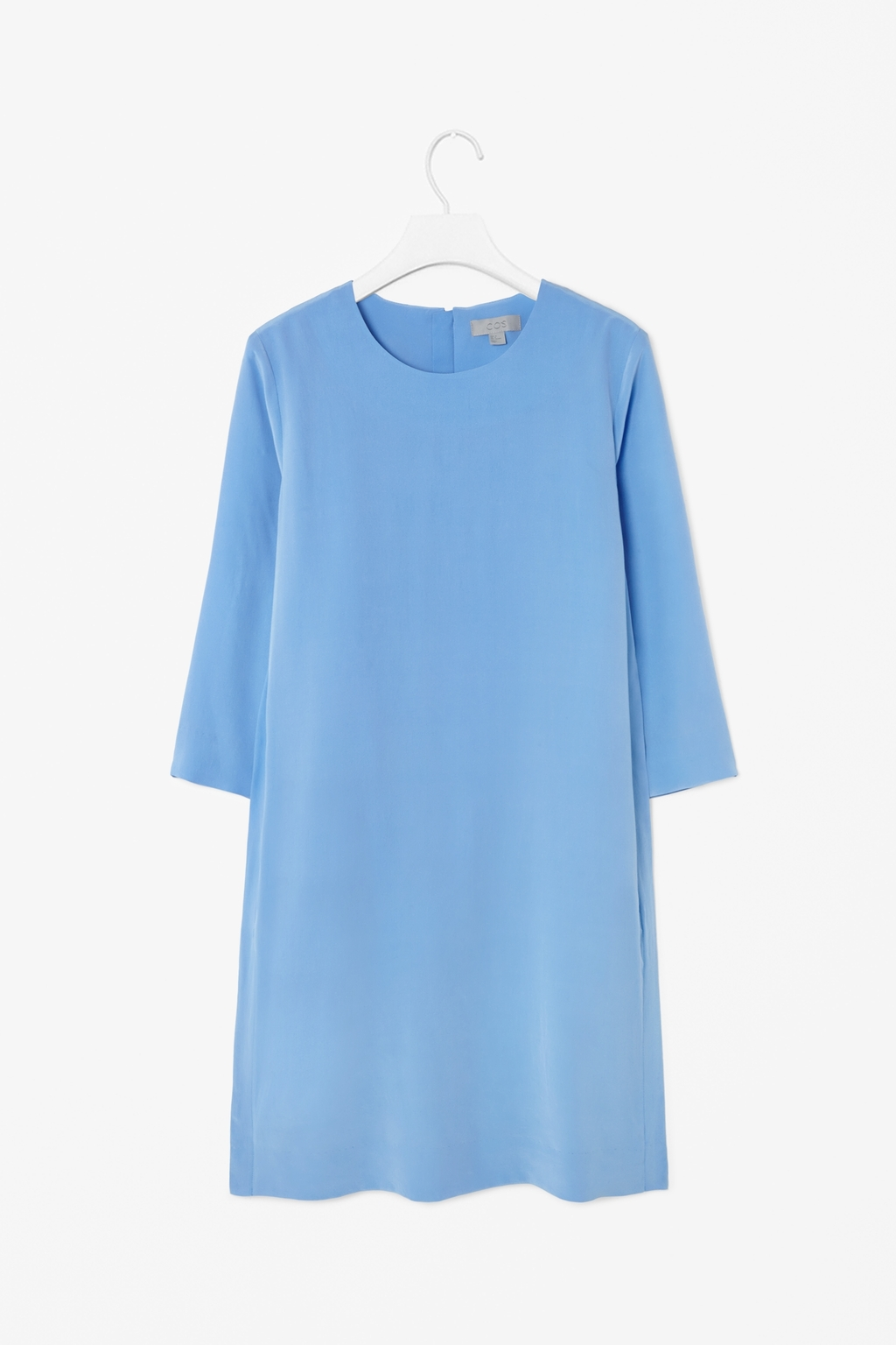 Round Neck Silk Dress - style: shift; length: mid thigh; neckline: round neck; pattern: plain; predominant colour: pale blue; occasions: evening, creative work; fit: soft a-line; fibres: silk - 100%; sleeve length: 3/4 length; sleeve style: standard; texture group: silky - light; pattern type: fabric; season: s/s 2014