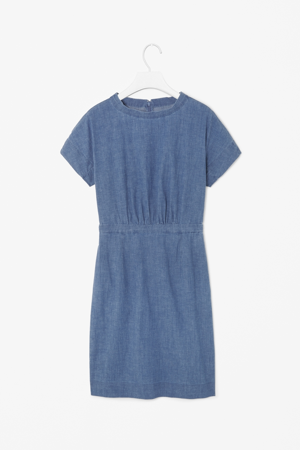 Denim Dress - style: shift; length: mid thigh; fit: fitted at waist; pattern: plain; neckline: high neck; predominant colour: denim; occasions: casual, holiday, creative work; fibres: cotton - 100%; sleeve length: short sleeve; sleeve style: standard; texture group: denim; pattern type: fabric; season: s/s 2014