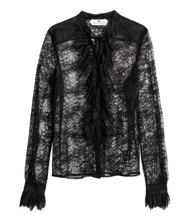 Lace Blouse - style: blouse; predominant colour: black; occasions: casual, evening, occasion; length: standard; neckline: collarstand & mandarin with v-neck; fibres: polyester/polyamide - 100%; fit: loose; sleeve length: long sleeve; sleeve style: standard; texture group: lace; bust detail: bulky details at bust; pattern type: fabric; pattern: patterned/print; season: s/s 2014; wardrobe: highlight