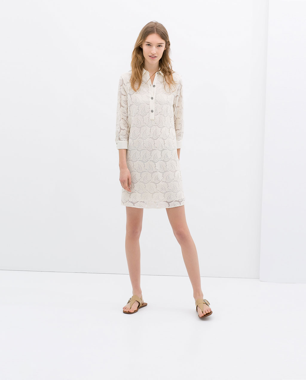 Dress With Jewel Buttons - style: shift; length: mid thigh; neckline: shirt collar/peter pan/zip with opening; bust detail: buttons at bust (in middle at breastbone)/zip detail at bust; predominant colour: ivory/cream; occasions: casual, evening, holiday, creative work; fit: straight cut; fibres: cotton - mix; sleeve length: 3/4 length; sleeve style: standard; texture group: lace; pattern type: fabric; pattern size: big & busy; pattern: patterned/print; trends: lace; season: s/s 2014