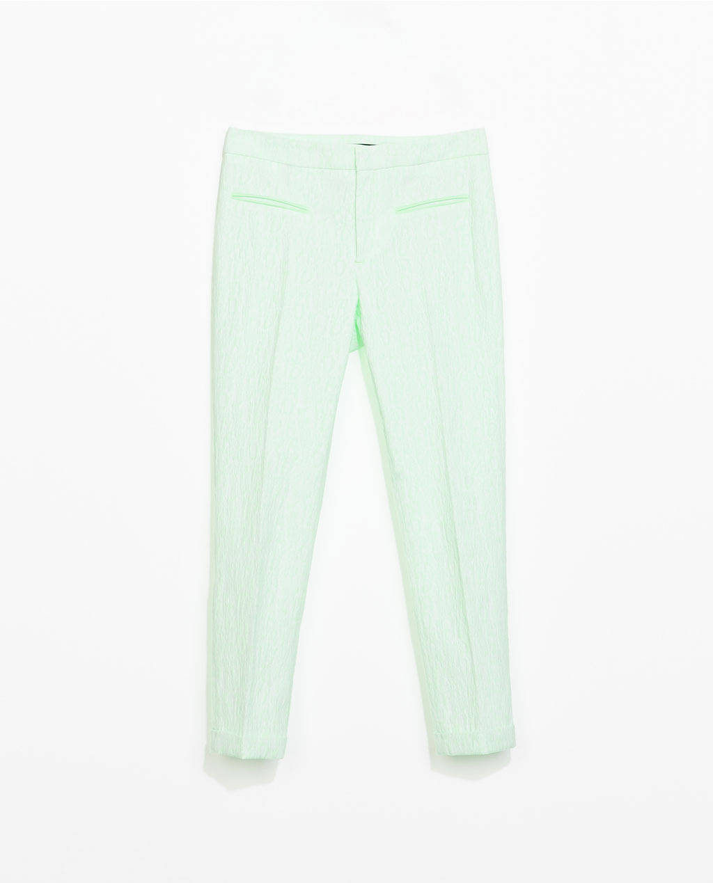 Jacquard Trousers With Faux Leather Piping - pattern: plain; waist: mid/regular rise; predominant colour: mint green; occasions: casual, evening, creative work; length: ankle length; fibres: cotton - stretch; fit: slim leg; pattern type: fabric; texture group: brocade/jacquard; style: standard; trends: sorbet shades; season: s/s 2014