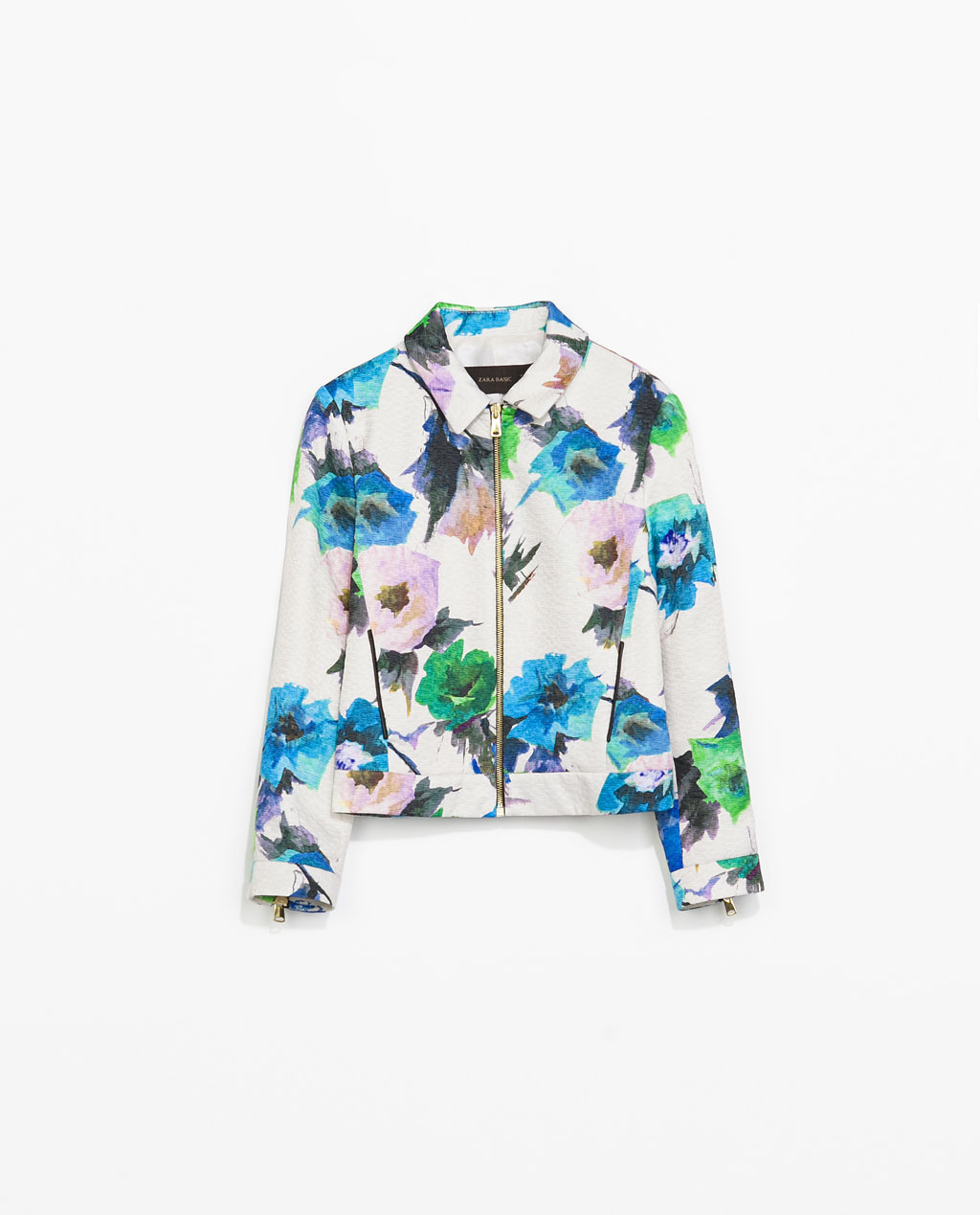 Printed Blazer With Faux Leather Piping - style: denim; occasions: casual, creative work; length: standard; fit: straight cut (boxy); fibres: polyester/polyamide - 100%; collar: shirt collar/peter pan/zip with opening; predominant colour: multicoloured; sleeve length: 3/4 length; sleeve style: standard; collar break: high/illusion of break when open; pattern type: fabric; pattern size: standard; pattern: florals; texture group: woven light midweight; season: s/s 2014; multicoloured: multicoloured
