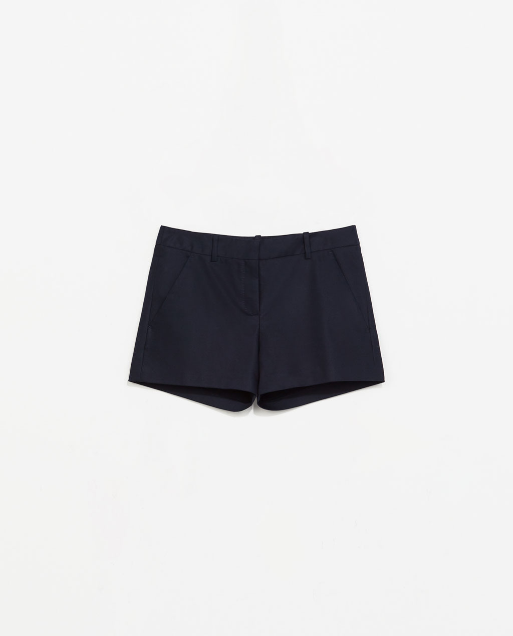 Double Fabric Bermuda Shorts - pattern: plain; waist: low rise; predominant colour: black; occasions: casual, evening, holiday; fibres: cotton - stretch; texture group: cotton feel fabrics; pattern type: fabric; season: s/s 2014; style: shorts; length: short shorts; fit: slim leg