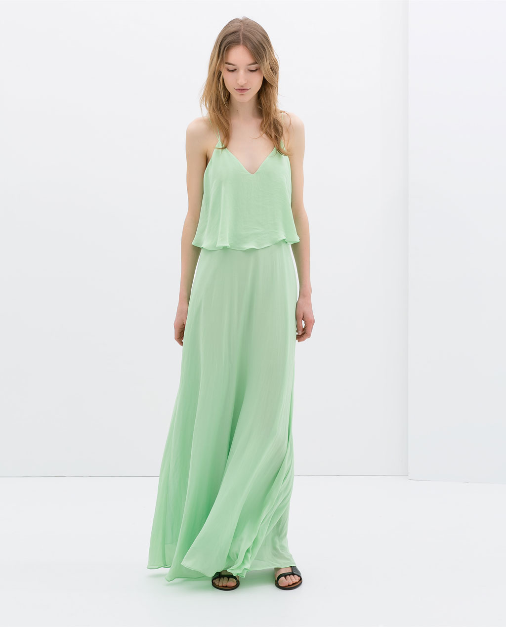 Maxi Dress With Low Cut Back - neckline: low v-neck; sleeve style: spaghetti straps; fit: loose; pattern: plain; style: maxi dress; predominant colour: mint green; occasions: casual, evening, holiday; length: floor length; fibres: polyester/polyamide - 100%; sleeve length: sleeveless; texture group: sheer fabrics/chiffon/organza etc.; pattern type: fabric; trends: sorbet shades; season: s/s 2014