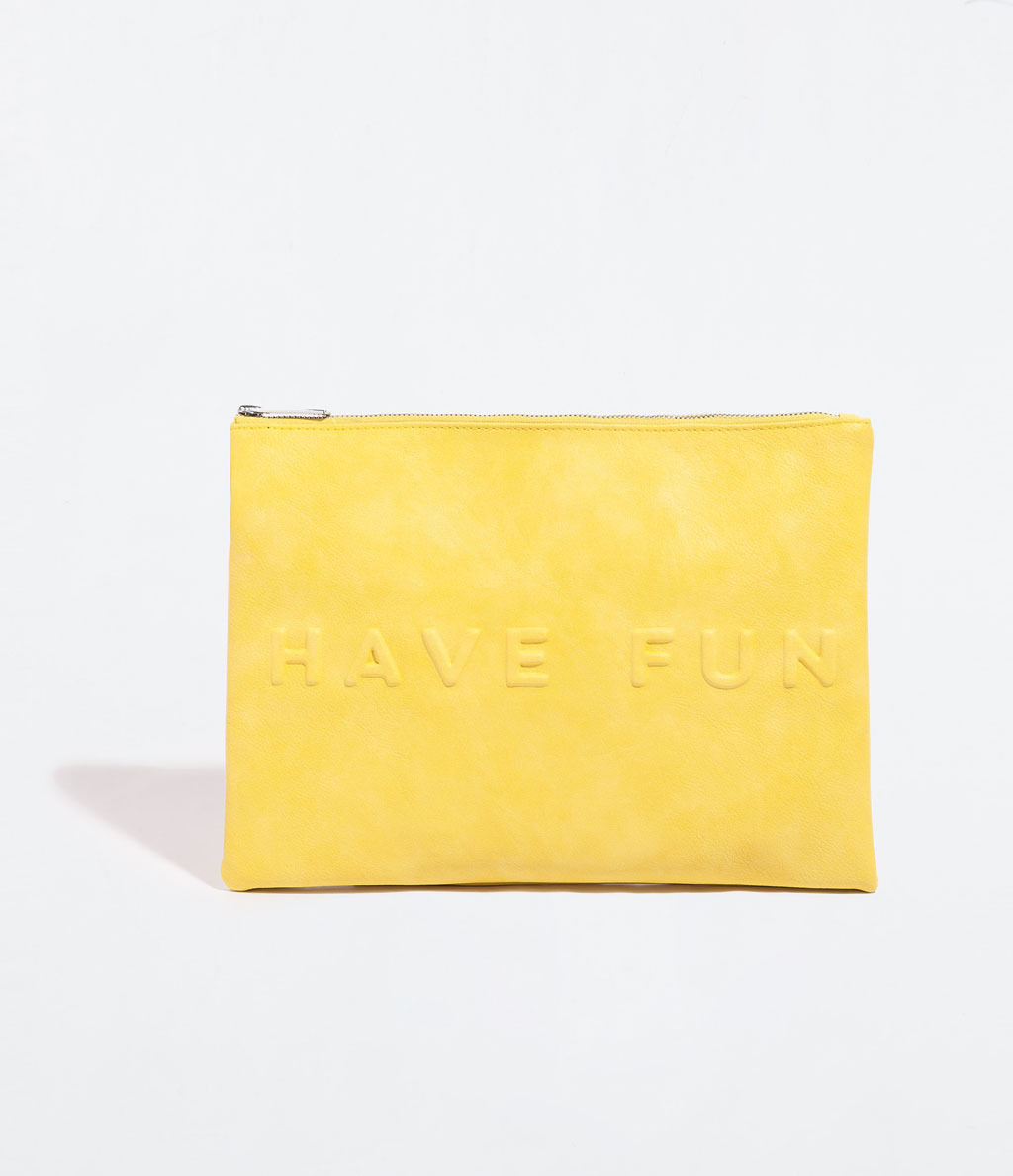 Leather Pouch - predominant colour: primrose yellow; occasions: casual, evening, holiday, creative work; type of pattern: light; style: clutch; length: hand carry; size: standard; material: leather; finish: plain; pattern: patterned/print; trends: sorbet shades, logos; season: s/s 2014