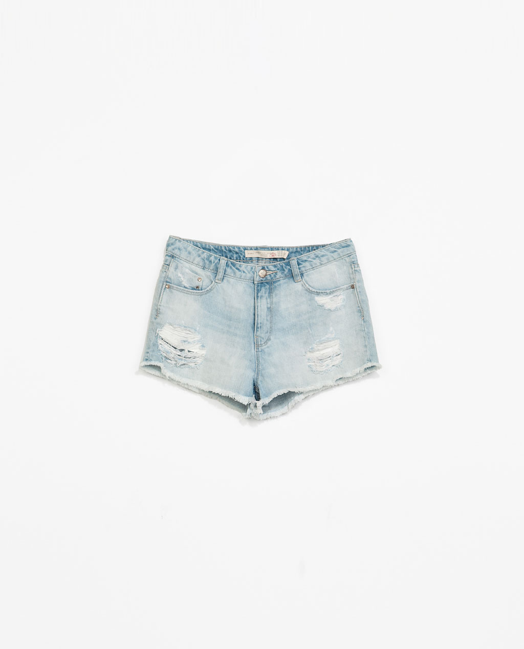 Mid Rise Shorts - pattern: plain; pocket detail: traditional 5 pocket; waist: mid/regular rise; predominant colour: pale blue; occasions: casual, holiday; fibres: cotton - stretch; texture group: denim; pattern type: fabric; season: s/s 2014; style: denim; length: short shorts; fit: slim leg