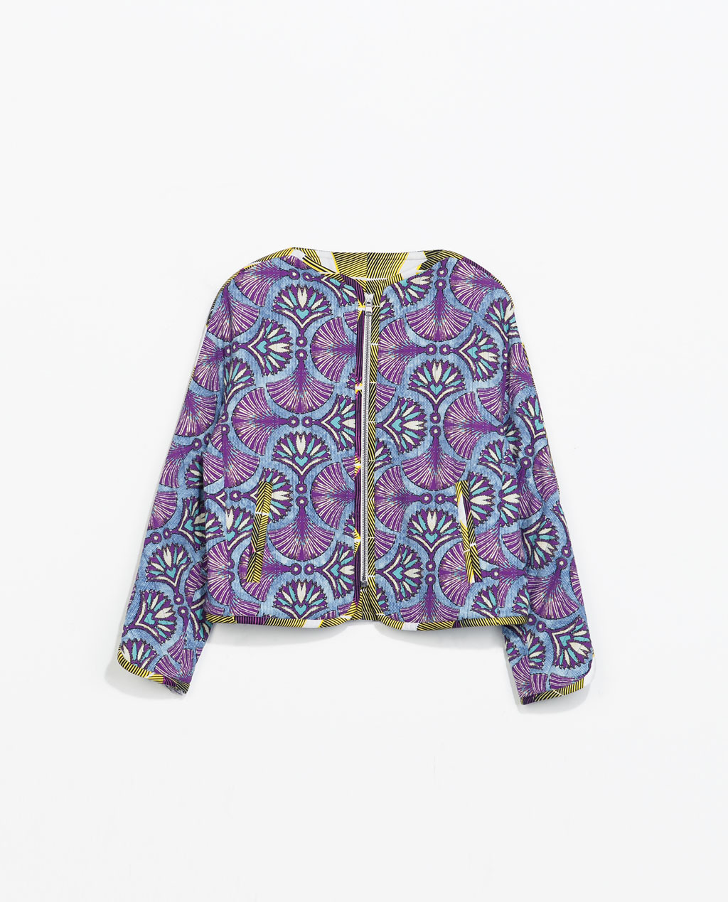 Reversible Jacket - collar: round collar/collarless; style: boxy; occasions: casual, evening, creative work; fit: straight cut (boxy); fibres: polyester/polyamide - 100%; predominant colour: multicoloured; sleeve length: 3/4 length; sleeve style: standard; collar break: low/open; pattern type: fabric; pattern: patterned/print; texture group: woven light midweight; season: s/s 2014; pattern size: big & busy (top); multicoloured: multicoloured; length: cropped