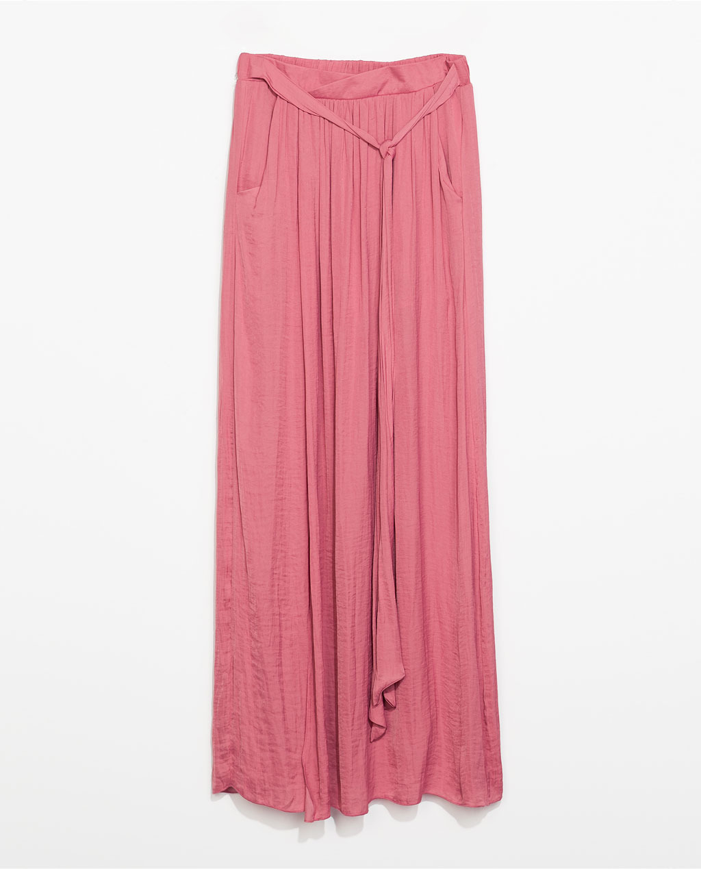 Long Flowing Skirt - pattern: plain; fit: loose/voluminous; waist detail: belted waist/tie at waist/drawstring; waist: mid/regular rise; predominant colour: pink; occasions: casual, holiday; length: floor length; style: maxi skirt; fibres: polyester/polyamide - 100%; hip detail: soft pleats at hip/draping at hip/flared at hip; texture group: sheer fabrics/chiffon/organza etc.; trends: sorbet shades; season: s/s 2014