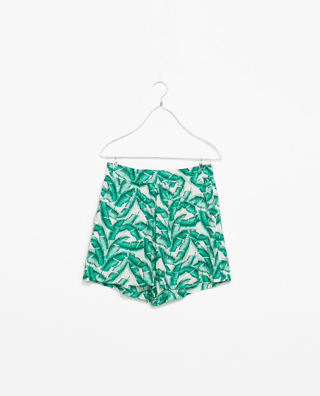 Printed Loose Fit Shorts - waist: high rise; secondary colour: ivory/cream; predominant colour: mint green; occasions: casual, holiday; fibres: silk - mix; texture group: silky - light; pattern type: fabric; pattern: patterned/print; season: s/s 2014; pattern size: standard (bottom); style: culotte; length: short shorts; fit: baggy