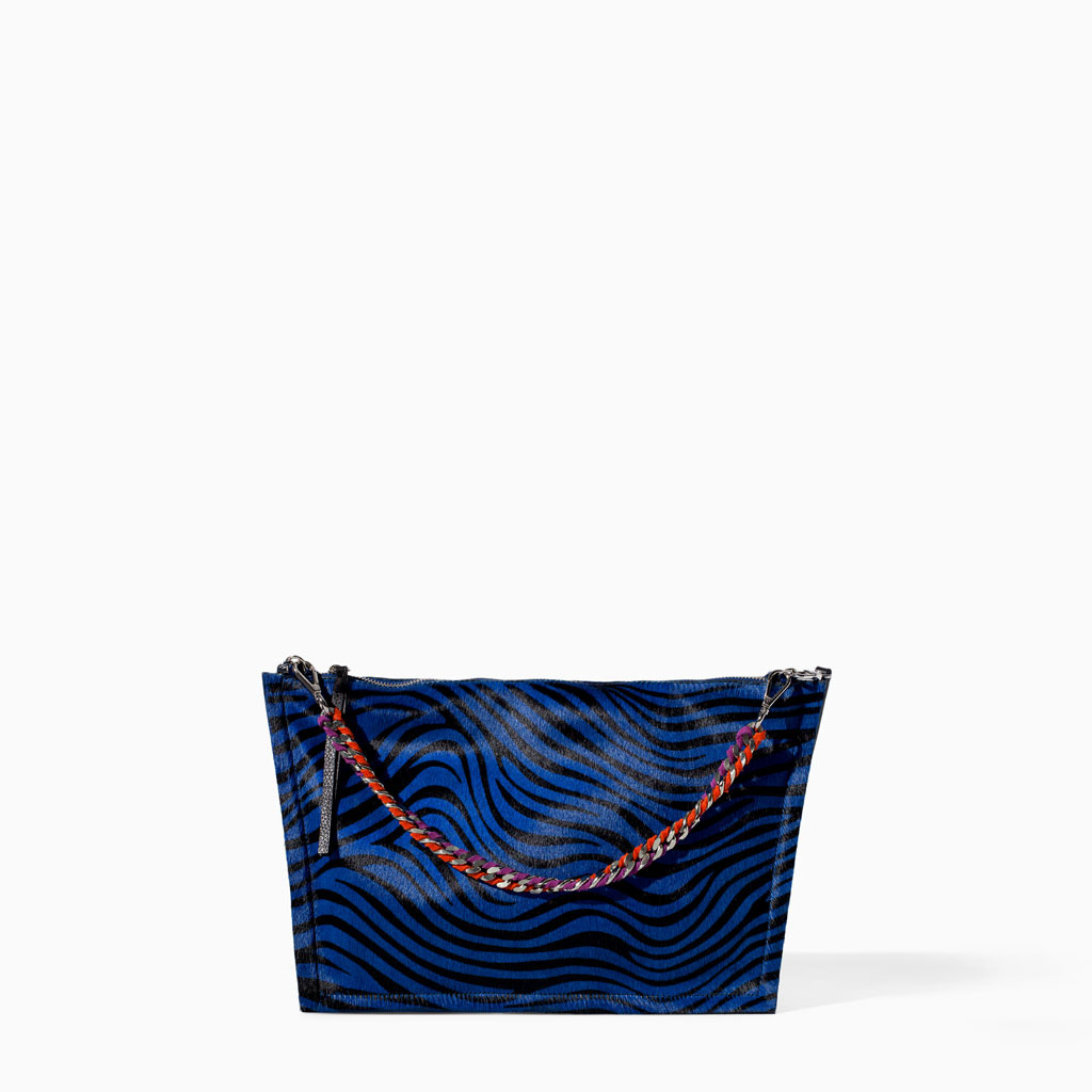 Printed Leather Messenger Bag - predominant colour: navy; secondary colour: black; occasions: casual, creative work; type of pattern: large; style: tote; length: shoulder (tucks under arm); size: standard; pattern: animal print; finish: plain; embellishment: chain/metal; material: pony skin; season: s/s 2014