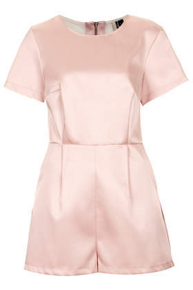 Mesh Satin Playsuit - neckline: round neck; fit: tailored/fitted; pattern: plain; length: short shorts; predominant colour: blush; occasions: casual, evening, occasion, creative work; fibres: cotton - 100%; sleeve length: short sleeve; sleeve style: standard; texture group: structured shiny - satin/tafetta/silk etc.; style: playsuit; pattern type: fabric; trends: sorbet shades; season: s/s 2014