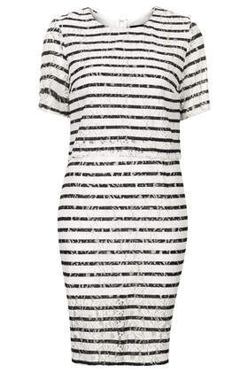 Stripe Lace Crop Dress - style: shift; length: mid thigh; secondary colour: ivory/cream; predominant colour: black; occasions: casual, evening, holiday, creative work; fit: body skimming; fibres: nylon - mix; neckline: crew; sleeve length: short sleeve; sleeve style: standard; texture group: lace; pattern type: fabric; pattern size: big & busy; pattern: patterned/print; season: s/s 2014