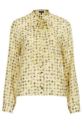Gingham Flower Pussybow Blouse - neckline: pussy bow; style: blouse; predominant colour: primrose yellow; secondary colour: mid grey; occasions: casual, evening, work, creative work; length: standard; fibres: polyester/polyamide - 100%; fit: straight cut; sleeve length: long sleeve; sleeve style: standard; texture group: sheer fabrics/chiffon/organza etc.; pattern type: fabric; pattern: florals; trends: sorbet shades; season: s/s 2014; pattern size: big & busy (top)