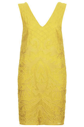 Folk Beaded Slip Dress - style: shift; length: mini; neckline: low v-neck; pattern: plain; sleeve style: sleeveless; back detail: back revealing; predominant colour: lime; occasions: evening, occasion; fit: straight cut; fibres: viscose/rayon - 100%; sleeve length: sleeveless; pattern type: fabric; texture group: other - light to midweight; embellishment: beading; season: s/s 2014; wardrobe: event; embellishment location: pattern