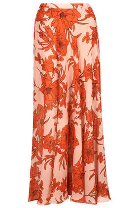 Poppy Bloom Maxi Skirt - length: ankle length; fit: loose/voluminous; waist: high rise; secondary colour: bright orange; predominant colour: nude; occasions: casual, holiday; style: maxi skirt; fibres: polyester/polyamide - 100%; hip detail: soft pleats at hip/draping at hip/flared at hip; texture group: sheer fabrics/chiffon/organza etc.; pattern type: fabric; pattern: florals; trends: furious florals; season: s/s 2014; pattern size: big & busy (bottom)