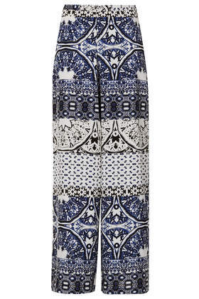 Tall Folk Print Wide Leg Trousers - length: standard; style: palazzo; waist: mid/regular rise; secondary colour: ivory/cream; predominant colour: navy; occasions: casual, evening, holiday, creative work; fibres: viscose/rayon - 100%; waist detail: narrow waistband; fit: wide leg; pattern type: fabric; pattern: patterned/print; texture group: other - light to midweight; trends: world traveller; season: s/s 2014; pattern size: big & busy (bottom)