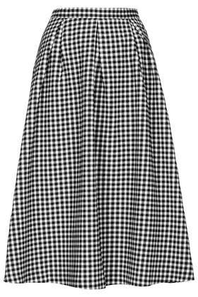 Gingham Calf Midi Skirt - length: below the knee; pattern: checked/gingham; style: full/prom skirt; fit: loose/voluminous; waist: high rise; secondary colour: white; predominant colour: black; occasions: casual, holiday, creative work; fibres: cotton - stretch; hip detail: adds bulk at the hips; texture group: cotton feel fabrics; pattern type: fabric; season: s/s 2014; trends: monochrome; pattern size: standard (bottom)