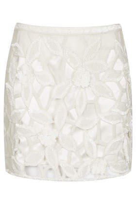 Lattice Leaf Embellish Pelmet Skirt - length: mini; fit: tailored/fitted; waist: mid/regular rise; predominant colour: ivory/cream; occasions: casual, evening, holiday, creative work; style: mini skirt; fibres: polyester/polyamide - 100%; pattern type: fabric; pattern: florals; texture group: other - light to midweight; embellishment: beading; trends: summer sparkle; season: s/s 2014