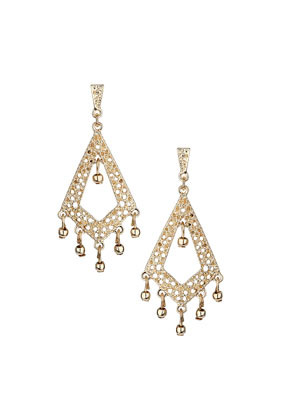 Filigree Open Diamond Earrings - predominant colour: gold; occasions: evening, occasion; style: chandelier; length: long; size: standard; material: chain/metal; fastening: pierced; finish: metallic; embellishment: crystals/glass; season: s/s 2014