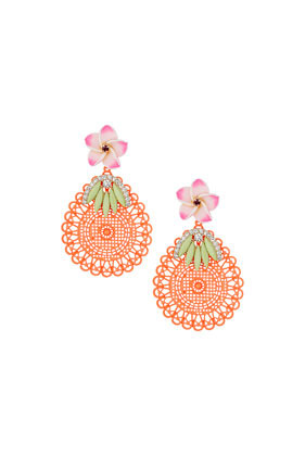 Orange Cut Out Disc Earrings - secondary colour: pistachio; predominant colour: bright orange; occasions: evening, occasion; style: drop; length: long; size: large/oversized; material: chain/metal; fastening: pierced; finish: plain; embellishment: jewels/stone; trends: world traveller; season: s/s 2014