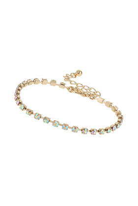 Sparkle Stone Bracelet - predominant colour: pistachio; secondary colour: gold; occasions: casual, evening, occasion; style: chain; size: standard; material: chain/metal; finish: metallic; embellishment: crystals/glass; season: s/s 2014