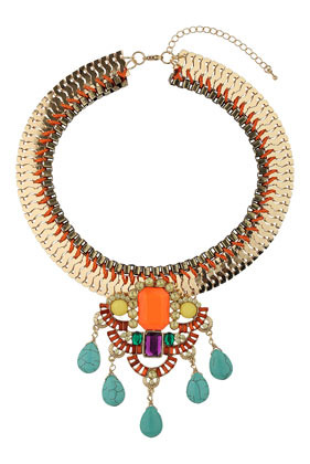 Semi Precious Stone Drop Necklace - secondary colour: mint green; predominant colour: gold; occasions: evening, occasion; length: short; size: large/oversized; material: chain/metal; finish: metallic; embellishment: jewels/stone; style: bib/statement; season: s/s 2014