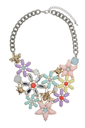 Eclectic Pastel Flower Collar - occasions: evening, occasion; predominant colour: multicoloured; length: mid; size: large/oversized; material: chain/metal; finish: metallic; embellishment: jewels/stone; style: bib/statement; season: s/s 2014; multicoloured: multicoloured
