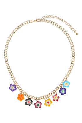 Bright Ditsy Flower Necklace - secondary colour: gold; occasions: casual, evening, occasion, holiday, creative work; predominant colour: multicoloured; length: short; size: standard; material: chain/metal; finish: metallic; style: bib/statement; season: s/s 2014; multicoloured: multicoloured