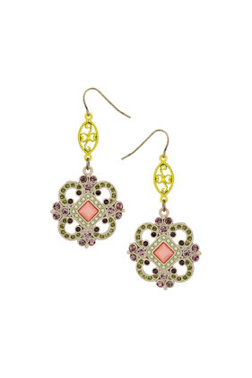 Premium Filigree Sparkle Earrings - occasions: evening, occasion; predominant colour: multicoloured; style: drop; length: long; size: standard; material: chain/metal; fastening: pierced; finish: metallic; embellishment: jewels/stone; trends: summer sparkle, world traveller; season: s/s 2014; multicoloured: multicoloured
