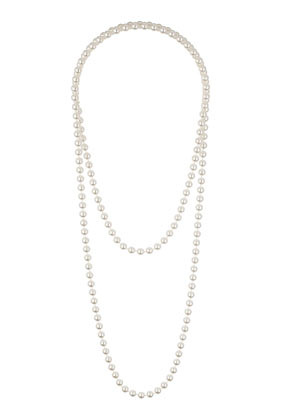 Basic Pearl Look Necklace - predominant colour: ivory/cream; occasions: evening, occasion; style: multistrand; length: long; size: standard; material: plastic/rubber; finish: plain; embellishment: pearls; season: s/s 2014